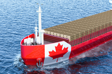 Timber export, wood trade from Canada concept. Canadian freighter ship with wooden logs in ocean, 3D rendering Stock Photo