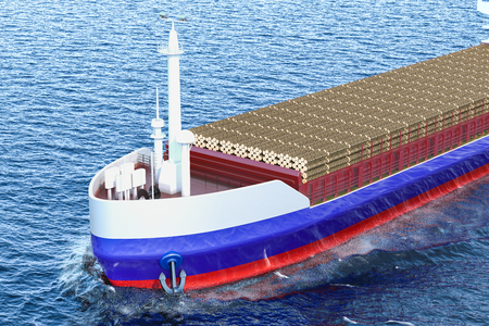 Timber export, wood trade from Russia concept. Russian freighter ship with wooden logs in ocean, 3D rendering