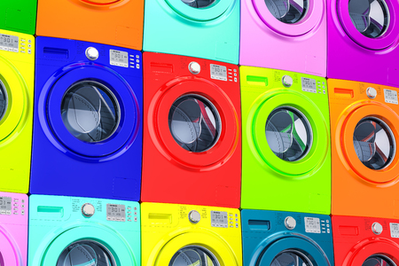 Wall from colored washing machines, 3D rendering