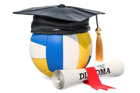 Volleyball ball with graduation cap and diploma. 3D rendering isolated on white background