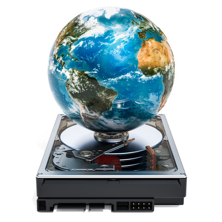Hard Disk Drive HDD with Earth Globe. Storage concept, 3D rendering isolated on white background