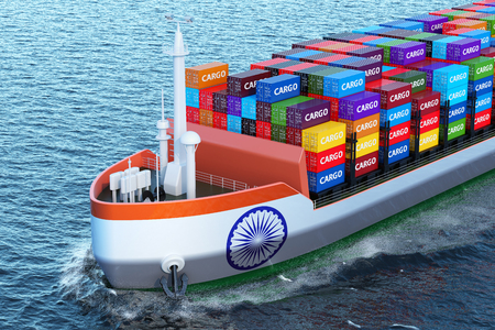 Indian freighter ship with cargo containers sailing in ocean, 3D rendering