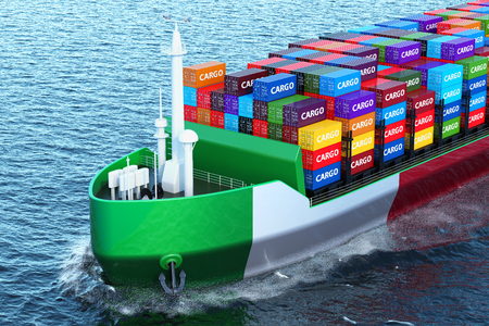 Italian freighter ship with cargo containers sailing in ocean, 3D rendering Stock Photo - 104580479