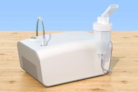 Medical inhaler, nebulizer on the wooden table. 3D rendering Stock Photo