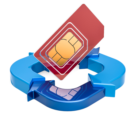 SIM card with ring diagram from blue arrows, 3D rendering isolated on white background