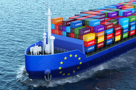 The European Union freighter ship with cargo containers sailing in ocean, 3D rendering Stock Photo