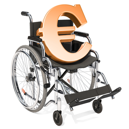 Wheelchair with euro symbol, financial support concept. 3D rendering isolated on white background