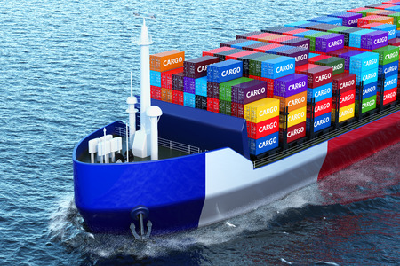 French freighter ship with cargo containers sailing in ocean, 3D rendering
