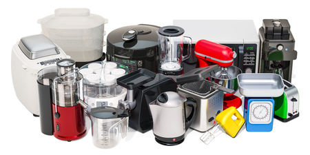 """Set van kleine huishoudelijke keukenapparatuur. Broodrooster, waterkoker, voedselstomer, mixer, blender, """"yoghurtmaker"""", multikoker, fruitpers, grinder, broodmachine, 3D-weergave geïsoleerd op een witte achtergrond"""