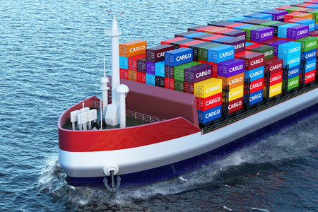 The Netherlands freighter ship with cargo containers sailing in ocean, 3D rendering
