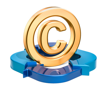 Copyright symbol with blue arrows, 3D rendering isolated on white background