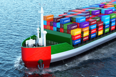 The UAE freighter ship with cargo containers sailing in ocean, 3D rendering