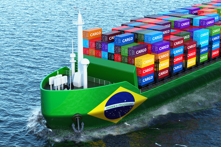 Brazilian freighter ship with cargo containers sailing in ocean, 3D rendering