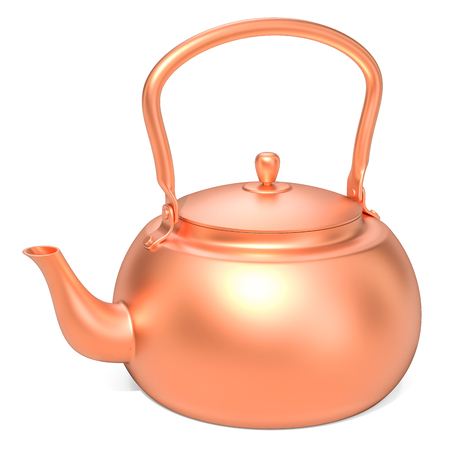 Copper kettle, 3D rendering on white background