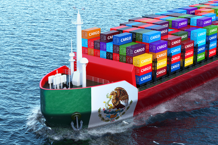 Mexican freighter ship with cargo containers sailing in ocean, 3D rendering Stock Photo - 104411755