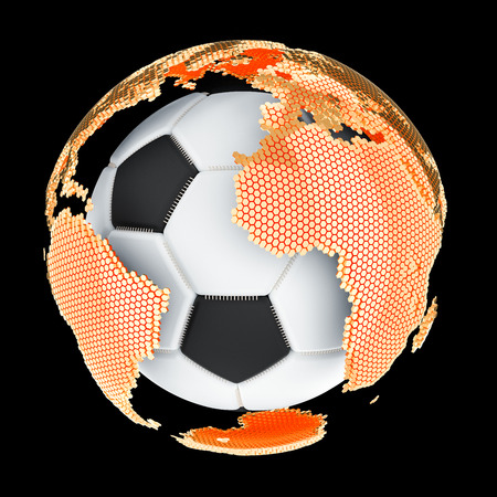 Global Soccer concept, 3D rendering isolated on black background