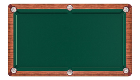 Empty green billiard table, top view. 3D rendering isolated on white background