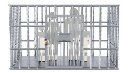 Cage en acier, cellule de prison avec famille. Rendu 3D isolé sur fond blanc Banque d'images