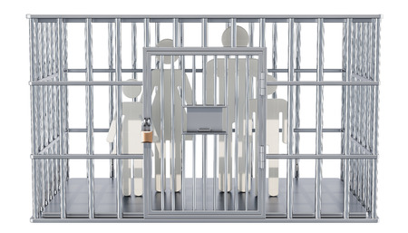 Steel cage, prison cell with family. 3D rendering isolated on white background Banco de Imagens