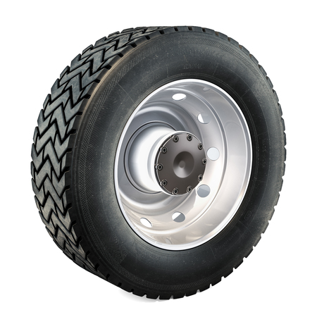 Truck Wheel, 3D rendering isolated on black background
