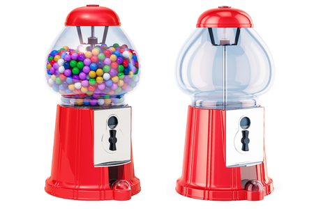 Full gumball machine and empty gum dispenser. 3D rendering isolated on white background