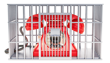 Phone inside cage, prison cell. 3D rendering isolated on white background Stock fotó