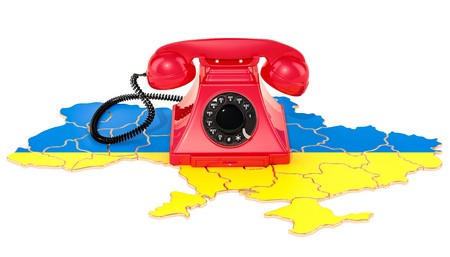 Communication services in Ukraine, 3D rendering isolated on white background
