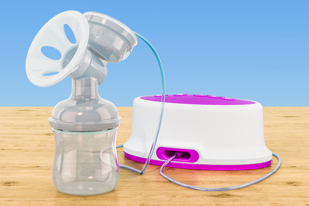 Electric breast pump on the wooden table, 3D rendering Imagens