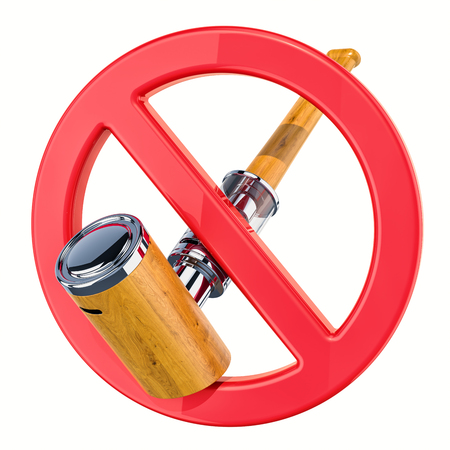 No vaping concept, forbidden sign with electronic pipe, e-pipe. 3D rendering isolated on white background