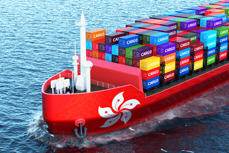 Hong Kong freighter ship with cargo containers sailing in ocean, 3D rendering