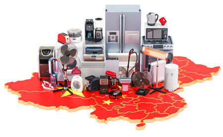Map of China with home and kitchen appliances, 3D rendering isolated on black background Stock Photo