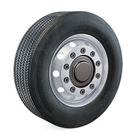 Truck Wheel closeup, 3D rendering isolated on black background