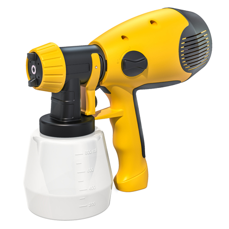 Electric paint spray gun close-up, 3D rendering isolated on white background Stock Photo