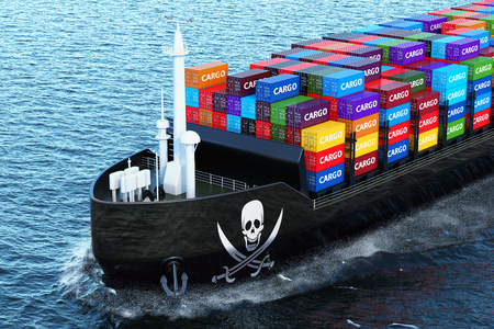 Freighter ship with piracy smuggling cargo containers sailing in ocean, 3D rendering