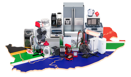 Map of South Africa with home and kitchen appliances, 3D rendering isolated on black background
