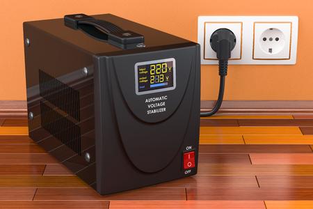 Estabilizador de voltaje automático en el piso de madera conectado a la toma de corriente. Representación 3D