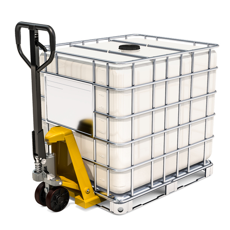 Hydraulic pallet jack with white intermediate bulk container, 3D rendering isolated on white background