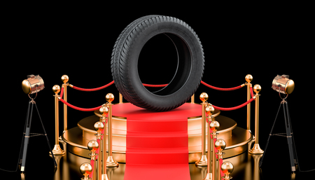Podium with car tire. 3D rendering isolated on black background