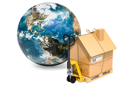 Worldwide household moving services concept. Hydraulic hand pallet truck with cardboard house parcel and Globe Earth, 3D rendering3D renderin Stok Fotoğraf