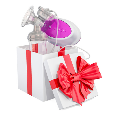 Electric breast pump inside gift box, gift concept. 3D rendering isolated on white background 写真素材