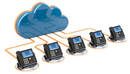 Concetto di comunicazione VoIP. Rendering 3D isolato su sfondo bianco