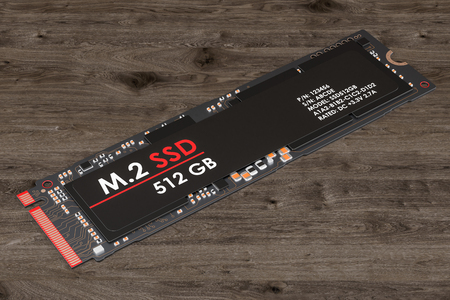 M2 SSD 512 gb, 3D rendering isolated on white background