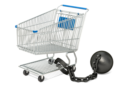 Shopping cart with shacklers, purchasing power concept. 3D rendering isolated on white background