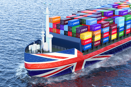 British freighter ship with cargo containers sailing in ocean, 3D rendering Stock Photo