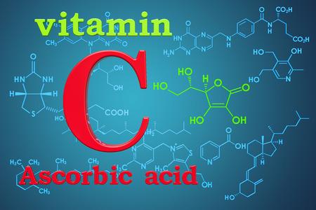Vitamin C, ascorbic acid. Chemical formula, molecular structure. 3D rendering Stockfoto