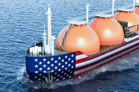American gas tanker sailing in ocean, 3D rendering Stock Photo