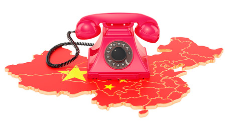 Communication services in China, 3D rendering isolated on white background