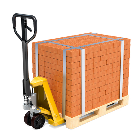 Pallet truck with stack of bricks, 3D rendering isolated on white background Stock Photo