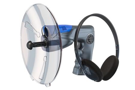 Micrófono parabólico con auriculares, 3D rendering aislado sobre fondo blanco.