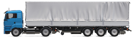 Lorry trailer with curtainside from tarp. 3D rendering isolated on white background Stock Photo